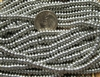 4mm Czech Glass Spacer Beads Rondelles -  Shiny Silver Metallic
