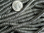 6mm Czech Glass Spacer Beads Rondelles - Shiny Silver Metallic