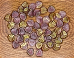 Czech Glass Pressed 8/7mm Rose Petals - Alexandrite 1/2 Coat Pink Topaz Luster