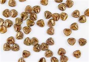 Czech Glass Pressed 8/7mm Rose Petals - Crystal Bronze Picasso