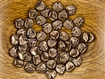 Czech Glass Pressed 8/7mm Rose Petals - Dark Bronze Metallic