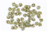 Czech Glass Pressed 8/7mm Rose Petals - Milky Peridot Bronze Picasso