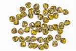 Czech Glass Pressed 8/7mm Rose Petals - Opaque Yellow Bronze Picasso