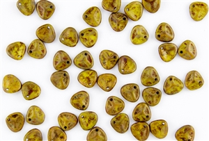 Czech Glass Pressed 8/7mm Rose Petals -  Opaque Yellow Copper Picasso