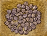 Czech Glass Pressed 8/7mm Rose Petals - Regal Purple Halo Ethereal
