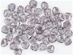 Czech Glass Pressed 8/7mm Rose Petals - Transparent Rosaline Moon Dust