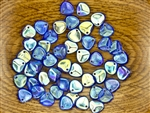 Czech Glass Pressed 8/7mm Rose Petals - Transparent Sapphire AB