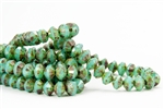 9x6mm Rivoli Saucer Czech Glass Beads - Milky Turquoise Picasso