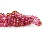 9x6mm Rivoli Saucer Czech Glass Beads - Pink Gold Topaz Luster