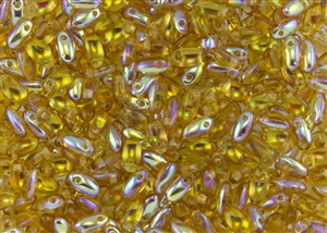 Rizo 2.5 x 6mm Czech Glass Long Rice Drop Beads - Topaz AB RZ210