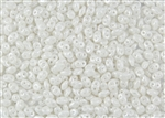 SuperDuo 2/5mm Two Hole Czech Glass Seed Beads - White Opaque Luster SD949
