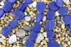 Strand of New 2013 Sea Glass Flat Freeform Beads - Cobalt Blue