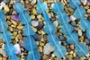 Strand of New 2013 Sea Glass Flat Freeform Beads - Pacific Blue