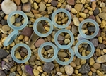 5 x Beach Sea Glass 27mm Bottle-Neck Style Rings - Light Aqua
