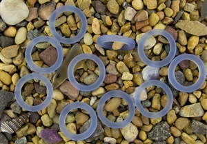 5 x Beach Sea Glass 27mm Bottle-Neck Style Rings - Light Sapphire