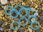 5 x Beach Sea Glass 27mm Bottle-Neck Style Rings - Pacific Blue