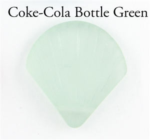 1 Sea Glass 27x29mm Shell Pendant - Coke-Cola Bottle Green