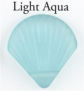 1 Sea Glass 27x29mm Shell Pendant - Light Aqua