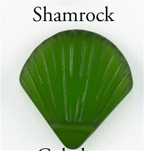 1 Sea Glass 27x29mm Shell Pendant - Shamrock Green