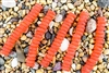 Strand of Sea Glass Button Freeform Beads - Tangerine Orange
