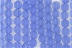 Strand of Sea Glass Puffed Coin Beads - Light Sapphire