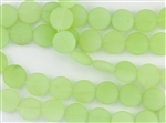 Strand of Sea Glass Puffed Coin Beads - Opaque Sea Foam
