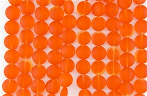 Strand of Sea Glass Puffed Coin Beads - Tangerine / Orange