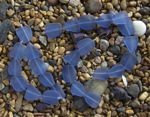 Strand of Sea Glass Flat Freeform Beads - Light Sapphire