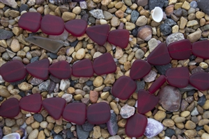 Strand of Sea Glass Flat Freeform Beads - Ruby Red
