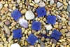 6 x Beach Sea Glass Curved Pendant Beads Flat Square 17.5mm - Cobalt Blue