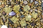 6 x Beach Sea Glass Curved Pendant Beads Flat Square 17.5mm - Lemon Yellow