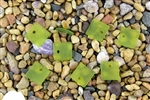 6 x Beach Sea Glass Curved Pendant Beads Flat Square 17.5mm - Lime Green