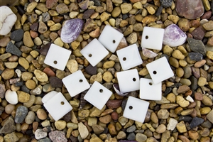 6 x Beach Sea Glass Curved Pendant Beads Flat Square 17.5mm - Opaque White