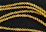 Strand of Sea Glass 4mm Round Beads - Amber
