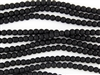 Strand of Sea Glass 4mm Round Beads - Jet Black Opaque