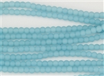 Strand of Sea Glass 4mm Round Beads - Opaque Blue Opal