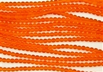 Strand of Sea Glass 4mm Round Beads - Hyacinth Orange
