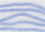 Strand of Sea Glass 4mm Round Beads - Opaque Sky Blue