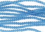 Strand of Sea Glass 4mm Round Beads - Pacific Blue