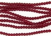 Strand of Sea Glass 4mm Round Beads - Ruby Red