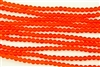 Strand of Sea Glass 4mm Round Beads - Tangerine