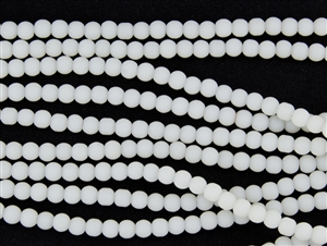Strand of Sea Glass 4mm Round Beads - Opaque White