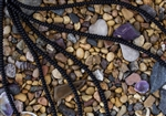 Strand of Sea Glass 4x3mm Rondelle Beads - Opaque Black