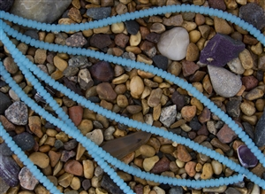 Strand of Sea Glass 4x3mm Rondelle Beads - Opaque Blue Opal