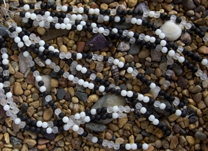 Strand of Sea Glass 6mm Round Beads - Black Mix