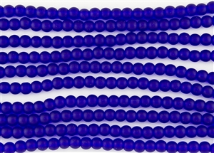 Strand of Sea Glass 6mm Round Beads - Cobalt Blue