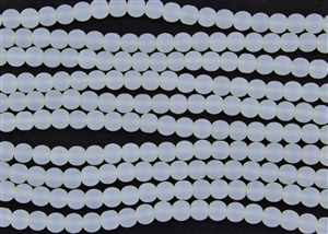 Strand of Sea Glass 6mm Round Beads - Moonstone Clear Opal