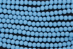 Strand of Sea Glass 6mm Round Beads - Opaque Blue Opal