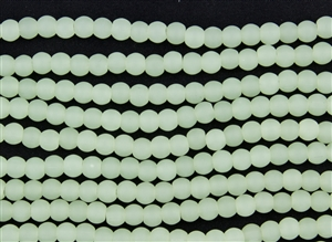 Strand of Sea Glass 6mm Round Beads - Opaque Sea Foam Green
