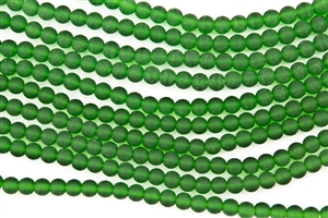Strand of Sea Glass 6mm Round Beads - Shamrock Green